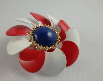 Vintage Mod Brooch Red White and Blue Flower Pinwheel, Pin, Patriotic, USA, 4th of July