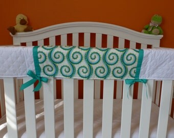 EXTRA WIDE Crib Teething Guard - 1pc - Aqua and Lime Green Wave
