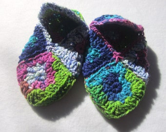 Most Colorful Crocheted Granny Square Slippers Ever Size Medium, Present for Friend, Slippers Like Grandma Made, Gift for Elderly