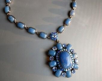 Retro 90s Faux Plastic Cabochon Blue Agate Stone Crystal Silver Tone Metal Choker Necklace Pendant, bold fashion