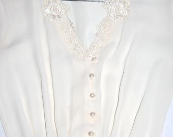 Ethereal Upcycled Cream Hi-low Hemline Sheer Dress- Size S/M
