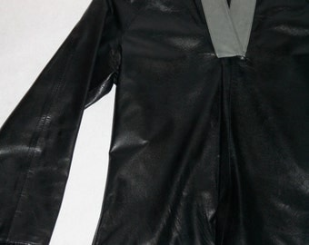 Crazy Cool Black Leather Moto Shirt- Size S