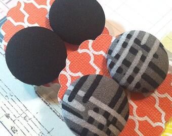 Cross Stripe Button Earrings