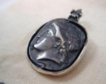 Original Ezi zino Roman dog tag coin  Pendant Handmade solid Sterling Silver 925
