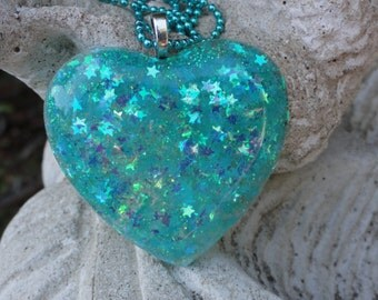 Turquoise Glitter Stars Resin Statement Necklace, Star Glitter Resin Heart Necklace, Blue Stars Glitter Heart, Turquoise Heart Necklace