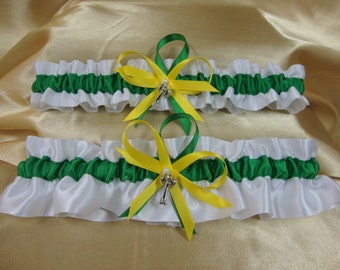 White and Green Satin Wedding Garter Set--Country Colors