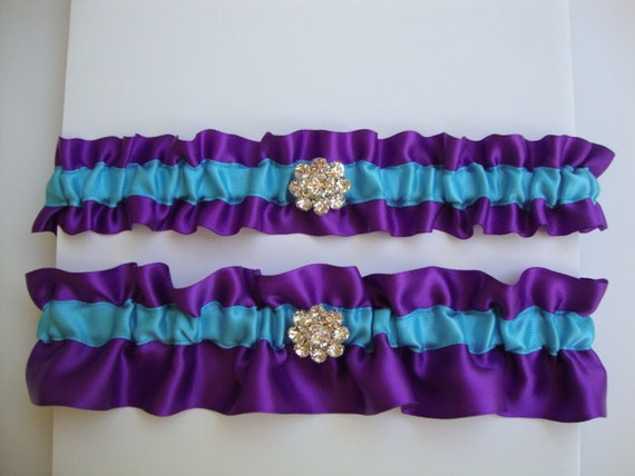 Purple And Turquoise Wedding Garter Set With By StarBridal On Etsy