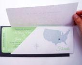 Boarding Pass Wedding Invitation in Sleeve : Destination Wedding