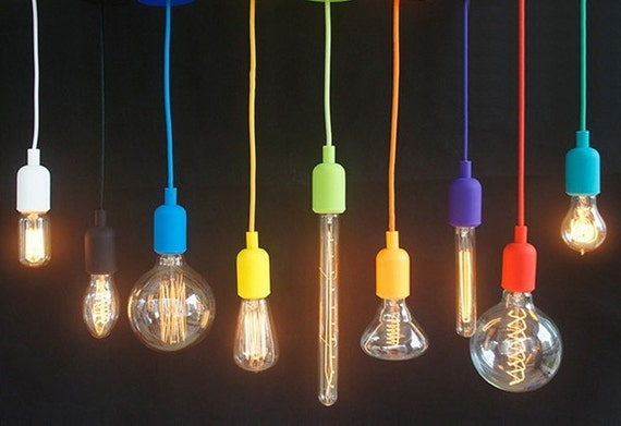 Pendant Light Colored Cord : Silicone color cord pendant hanging lamp by hangoutlighting