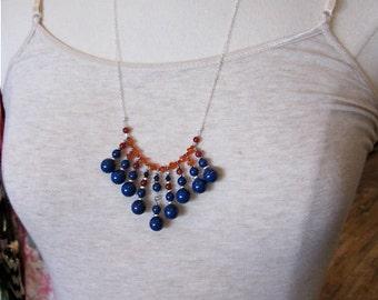 Blue and Orange Pendant Necklace -- Blue & Orange Bead Necklace -- Bauble Necklace -- Chevron Bead Necklace -- Carnelian and Blue Necklace