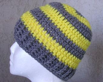 Handmade Crochet Beanie Cap Hat  Grey Gray Yellow