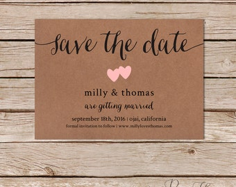 Rustic Save the Date cards / kraft save the dates / printable save the date / custom save the date