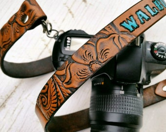 Custom Leather Camera Strap - Western Floral Pattern - Pick your stain and accent color - Personalized with any name - Mesa Dreams Leather
