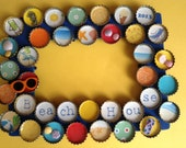 Beach Bottle Cap Picture Frame in Bright Primary Colors