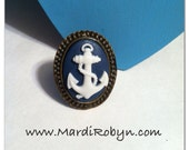 White and Navy Blue Anchor Cameo Adjustable Ring