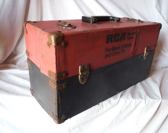 Awesome Vintage Top Fold Down 18 X 9 X 6 Latch Rca Case Used by TV Repairman  (Item Has 50 % OFF APPLIED)