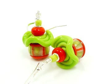Orange & Lime Green Ruffle Earrings, Lampwork Earrings, Glass Bead Earrings, Beadwork Earrings, Unique Earrings, Glass Bead Jewelry