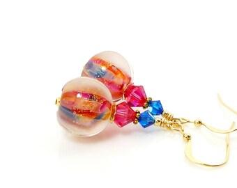 Colorful Earrings, Lampwork Earrings, Glass Earrings, Glass Bead Earrings, Beadwork Earrings, Lampwork Jewelry, Unique Earrings