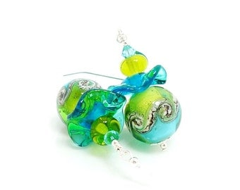 Lime Green & Aqua Blue Wave Earrings, Colorful Earrings, Lampwork Earrings, Ruffle Earrings, Glass Bead Earrings,Beadwork Earrings