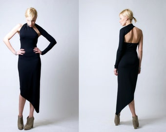 Black One Shoulder Asymmetric Midi Dress / Party Dress / marcellamoda Signature Design - MD008