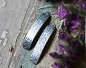 Silver Earrings, Leaf Embossed Sterling Silver Earrings