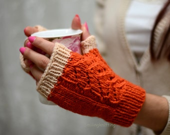 Halloween Gloves, Orange Knit Gloves, Hand Knit Gloves, Fingerless Gloves, Arm Warmers, Halloween Gift, Fall Fashion