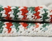 Handmade Wash Cloth Crocheted Cotton Set of Two Peppermint