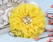 NEW: The Sunridge- 2 pcs 3 inch BRIGHT YELLOW Ruffled Lace Fabric Flowers w/ rhinestones pearls center , Hair Appliques Accessories