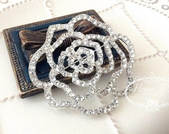 55mm Silver Metal Plated Crystal Rhinestone ROSE Brooch Pin Embellishment - wedding / hair / dress / garment accessories