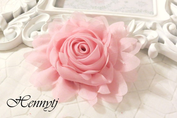 """New: Gladys Collections - BLUSH PINK 5"""" chiffon Rolled Rose Large flower with layers Bridal Favor Hair Applique Brooch headband"""