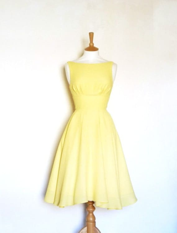 Size UK 10 - Lemon Yellow Crepe Dress - Made by Dig For Victory
