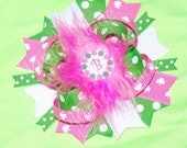Monogram Hot Pink, White and Lime Green St. Patricks Day Bow  with Marabou Pink Shamrock Bow Shamrock hairbow st pattys day bow with initial