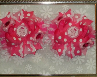 Hot Pink and Pink Polka Dot Princess Birthday Pigtail Bows Pink Birthday bows Birthday Pigtail Bows Birthday Hairbows Birthday Party Bows