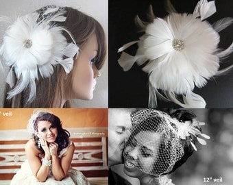 Birdcage veil with Plush feather fascinator with crystal center