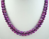Long Pearl Necklace Long Purple Pearl Necklace Magenta Pearl Necklace Fuchsia Purple Long Freshwater Pearl Necklace Purple Pearl Strand