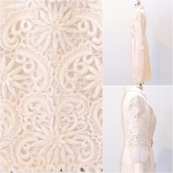 Pina Wedding Gown: 1960s Piña Silk Wedding Dress Mod 60s Cutwork Lace Dress 60s