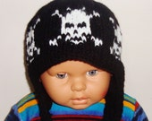 Wool Boy Hat with earflap hand knit skull knit hat for baby boy or girls hat black and white