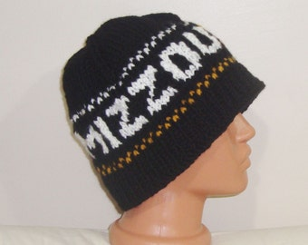 Personalized gift for boyfriend Mizzou Tigers  personalized boyfriend gift Beanie hat hand knit black, mustard, white