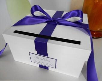 Custom Wedding Card Box Reception CardBox Gift Card Box Handmade Wedding Gift Cardbox Royal Purple Wedding Silver Wedding Personalized