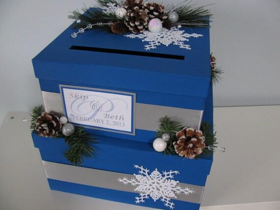 Items Similar To Custom Wedding Card Box Personalized 2 Tiered Silver Winter Wonderland