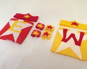 Custom Personalized 1st Birthday Mini-Superhero Cape Set- You pick the inital and color