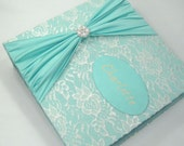 Baby Memory Book Personalized girl baby album -pregnancy diary - blue teal lace