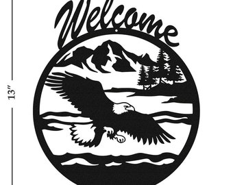 Bald Eagle Black Metal Welcome Sign