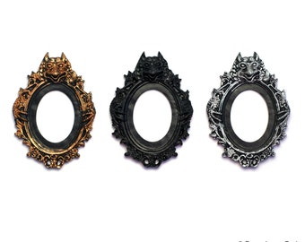 3 Colors to Choose From Set of 2 Gothic Single Gargoyle Open Back Vintage Style Frame for Cabochon....39mm x 65mm 30mm x 40mm