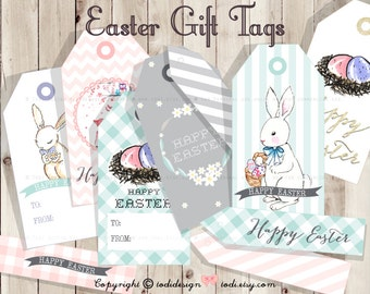 Easter Printable Gift Tags INSTANT DOWNLOAD