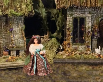 Sweet Valeriana 1:24 scale dollhouse doll for Medieval Tudor setting