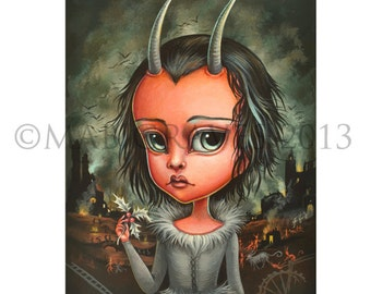 Krampus Bellus - Limited Edition signed numbered 5x7 Pop Surrealism Fine Art Print - by Mab Graves -unframed