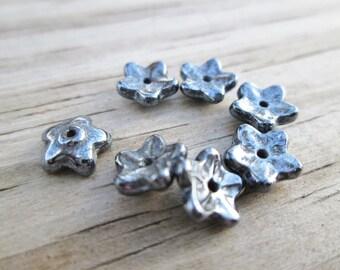 Czech Flower Bead Caps in Hematite 7x3mm 50pcs(Item Number 6542MD)