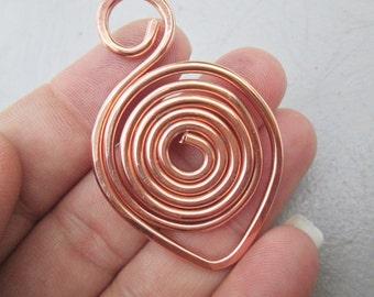 Solid Copper or Brass Swan Swirl Pendant Handmade 1pc