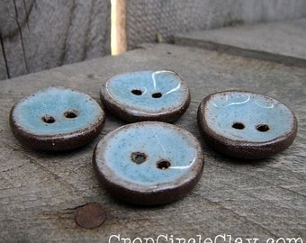 ONE Robin's Egg Blue Ceramic Buttons Connector Beads Blue Brown Rustic Earthy handmade buttons knitter sewing Jewelry Components Mixed Media